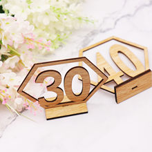 1-20/21-40 Rustic Wedding decoration Wood Table Number Sign Birthday Festival Party Events Hexagon Place Card Seat Number Sign(China)