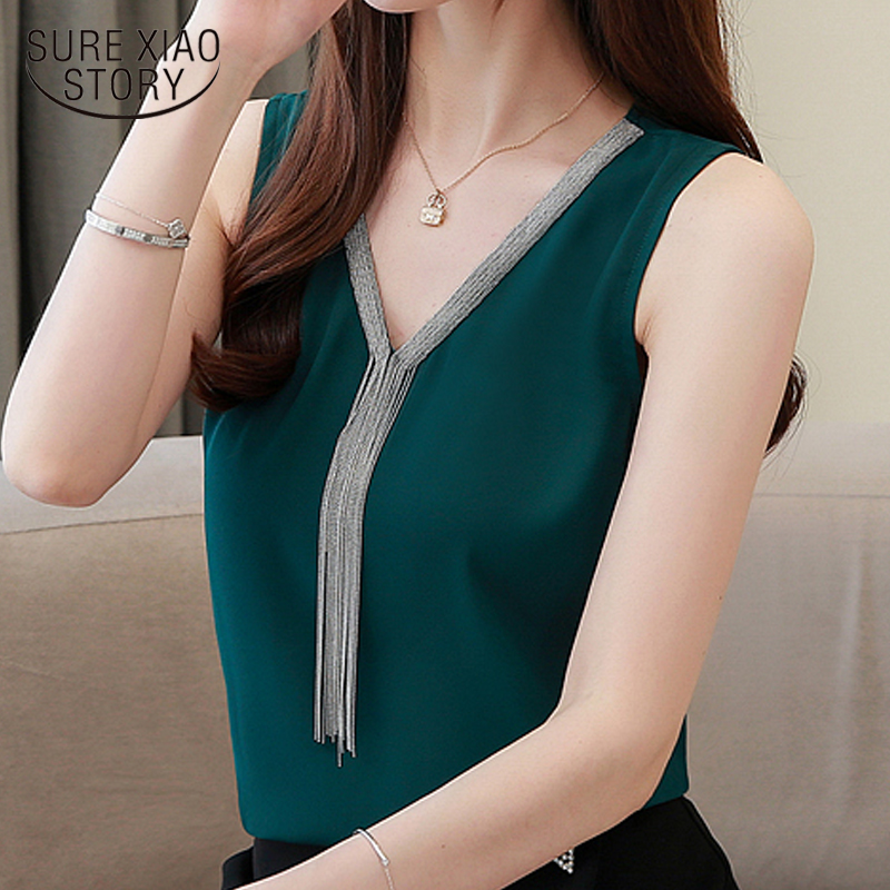 Blusas Mujer De Moda 2019 Camisas Mujer Womens Tops And Blouses Tassel V Collar Office Lady Chiffon Blouse Women Shirts 4094 50
