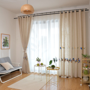 Image 4 - Cotton Linen Curtains for Living Room Bedroom Pastoral Curtain with Embroidery Birds White Tulle Sheer Curtain Window Treatment
