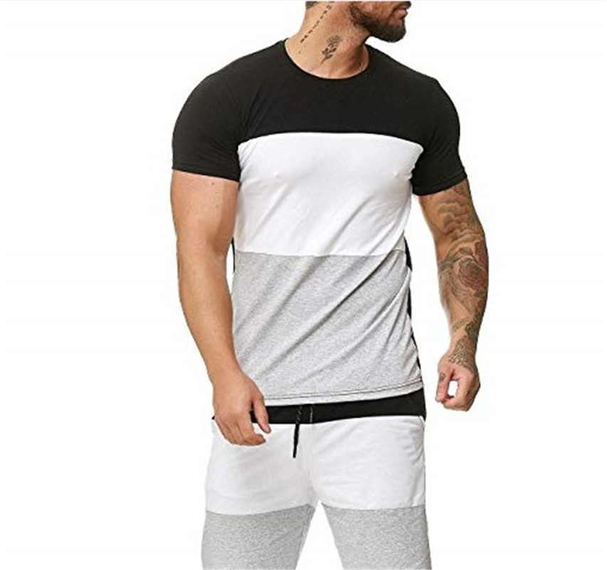 Men's Striped Suit 2 Pieces Fashion Casual Mens Sets Summer Men's T Shirt Shorts Casual Suits Sportswear Mens Clothing