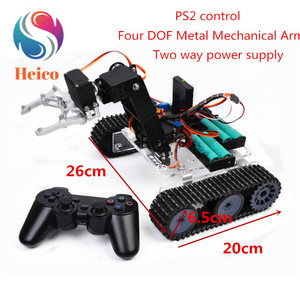 1 Set Remote Control Robot Acrylic Chassis Tank Car Tracked Vehicle Base With Mechanical Arm for Arduino DIY Smart Model Kit