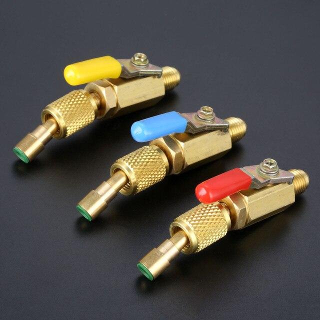"""3 pièces robinet à tournant sphérique droit 1/4 """"adaptateur pivotant SAE pour R134a R410a R12 réfrigérant Auto climatisation outils de réfrigération"""
