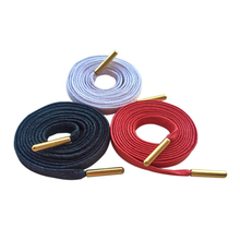 Weiou Laces Wholesale Item 30 Pairs/Lot Flat 100% Cotton Waxed Luxury Shoe Cord With Golden Metal Aglet For Easy Bulk Purchasing