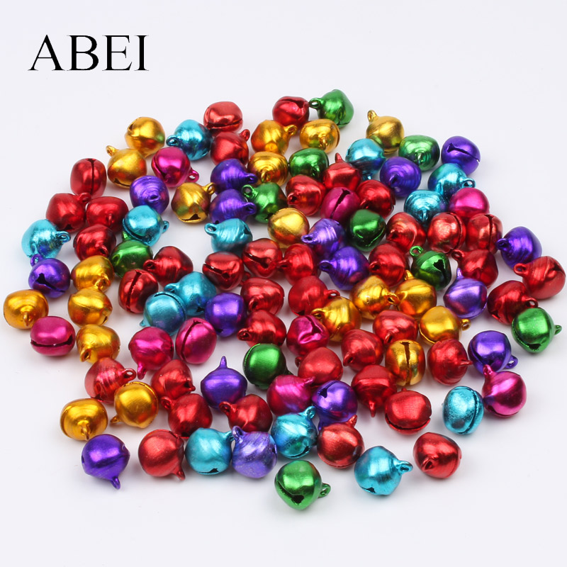 100pcs 10mm Mix Colors Gingle Bell DIY Metal Crafts Handmade Jewelry Findings Bells For Xmas Tree Home Wedding Decoration