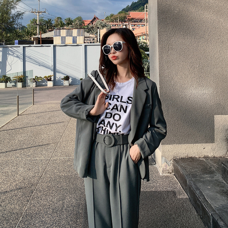 Set female 2019 spring new casual temperament suit trousers two-piece fashion elegant loose solid color wild women's clothes