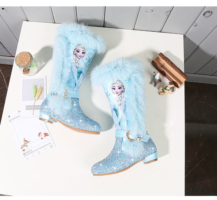 H3b2e05b7efc146f09f5390acf3c84b31Z - Elsa princess kids high boots new winter girls boots Brand Children's over the knee boots for girls snow shoes pink blue
