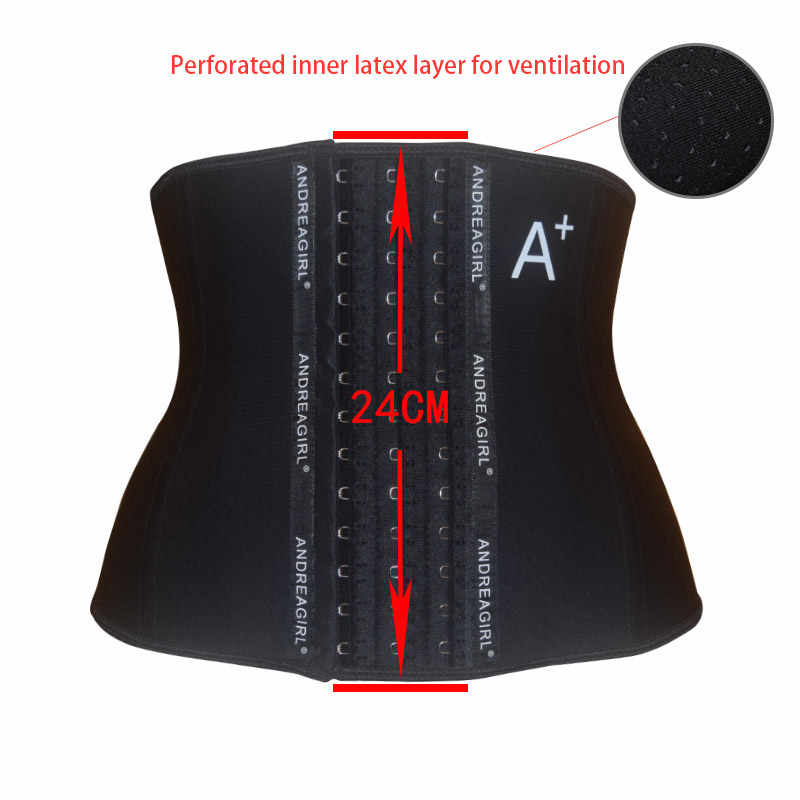 24cm Short 3 Layers Inner mesh ventilation Latex waist trainer body shaper corset fajas reductoras y modeladoras mujer корсет
