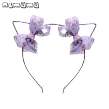 ncmama Lovely Ears Hairband for Baby Girls with Jo jo Bows Glitter Hair Hoop Unicorn Print Headbands Party Kids Accessories