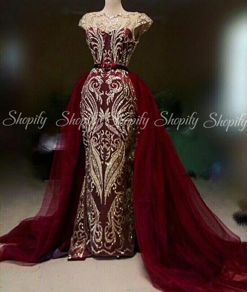 Long Evening Dresses 2020 Little Mermaid Cap Sleeve Gold Sequin Arabic Dubai Women Burgundy Formal Party Gowns Detachable Train