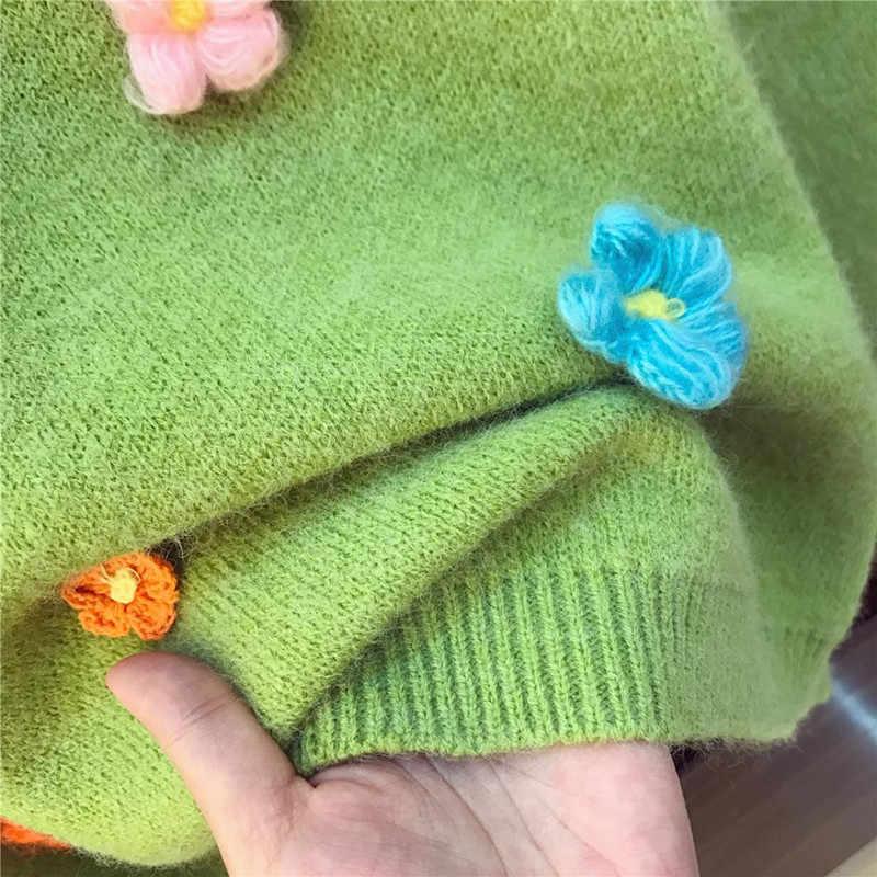 VERHELLEN シックなセーター 2 点セット 2019 秋の女性長袖花アップリケニットルーズかわいいセータートップス + スカートセット