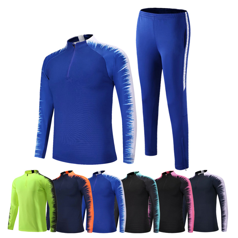 Soccer Jersey Coat Men's Sport Tracksuit Customize Sportwear Suit Half Zipper Suits Outwear Jacket+Pants Sets Asian Size 2XS-4XL