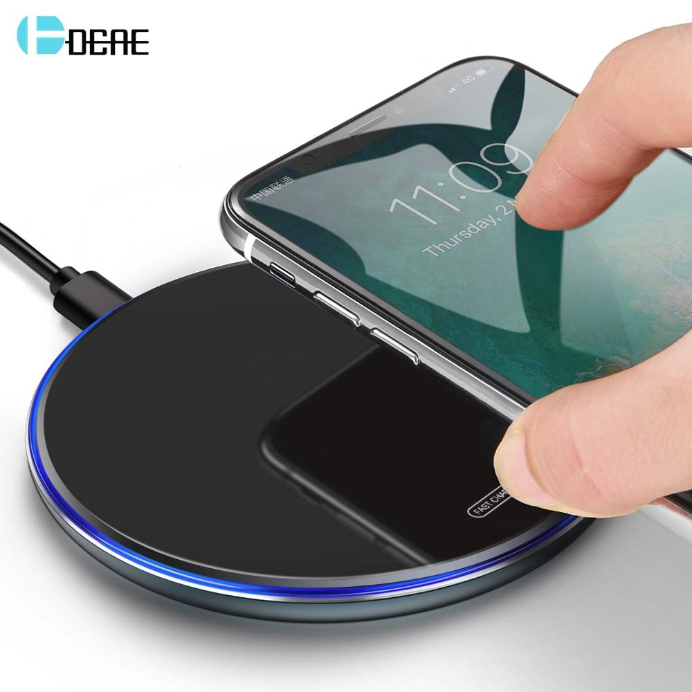 DCAE Fast Wireless Charger Qi 10W Quick Charge For IPhone X XR XS 8 11 Samsung S8 S9 S10 Xiaomi Huawei P30 Pro Fast Charging Pad