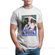 T-shirt en tissu pour homme, Streetwear, grande taille, Style espagnol, Festival de San Fermin, popeline, 1959