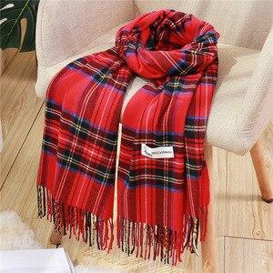 Image 3 - Moda kadınlar için ekose eşarp kaşmir püskül kışlık eşarplar pashmina şal sarar erkek örgü eşarp femme çaldı