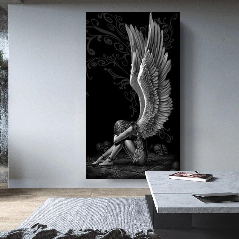 Картина с дьяволом и ангелом, серые персонажи, крылья, Череп, плакаты и принты на холсте, домашний декор, картина, постер для гостиной, картин...