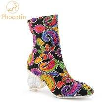 Phoentin Vrouw Laarzen 2020 Nieuwe Retro Kleurrijke Crystal Hakken 6.5Cm Zip Sierzaagwerk Mode Vrouwelijke Mid Calf Schoenen Plus Size 44 FT757