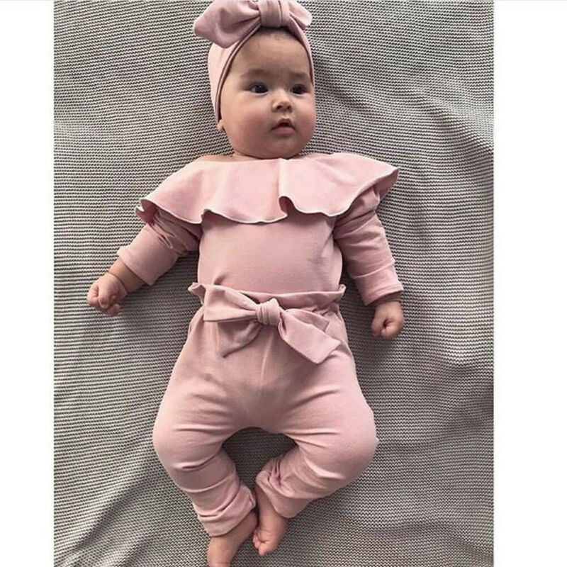 0-2Y Toddler Newborn Infant Baby Girls Clothing Set Autumn Long Sleeve Romper + Bow Ruffles Pants Outfits Baby Girls Costumes