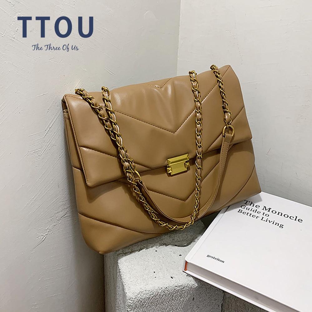 Grand Sac à bandoulière d'hiver pour femmes, sacs de voyage en cuir Pu matelassé, sacs à Main de luxe de styliste