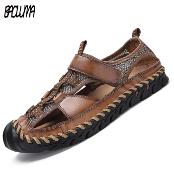 Fashion Men's Shoes Summer Sandals High Quality Leather Beach Comfortable Mans Footwear - discount item  30% OFF Men's Shoes