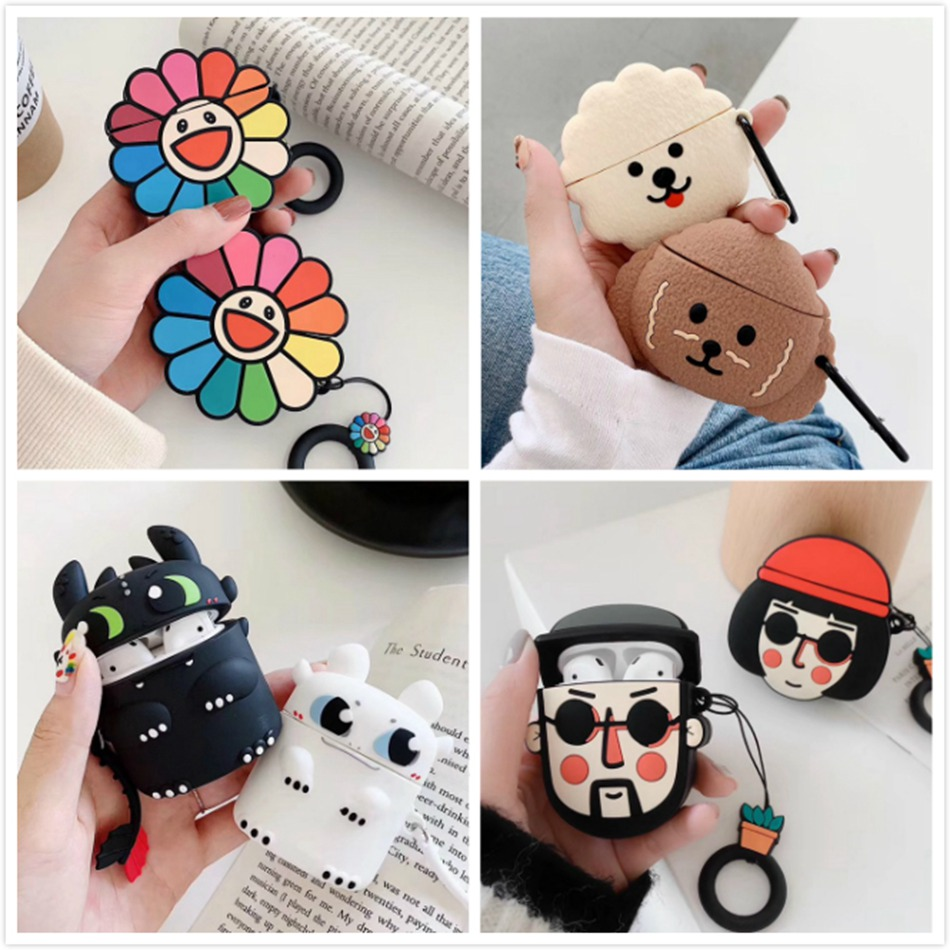 Earphone Case For Apple Airpods Case Silicone Lovely Cartoon Headphone Cover For AirPods 2 Accessories For Air Pods Earpods Case