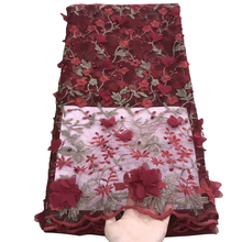 african 3d lace embroidered fabric beaded tulle laces 2019 high quality wine red mesh wedding party materials for women