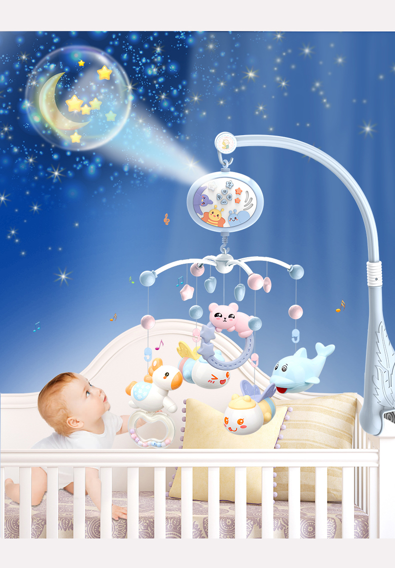 Baby Rattles Crib Toys Holder Rotating Crib Mobile Bed Musical Box Projection 0-12 Months Newborn Infant Toys