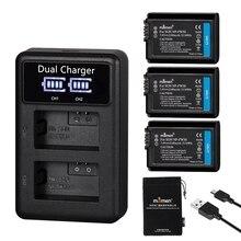 Mamen 3 uds NP FW50 NP FW50 NPFW50 batería para cámara Digital 2100MAh + LCD cargador Dual para Sony NEX 3 A7R A6500 A6300 A6000 A5000 un