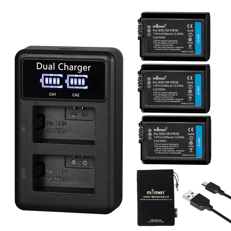 Mamen 3Pcs NP FW50 NP FW50 NPFW50 Digital Camera Battery 2100MAh + LCD Dual Charger for Sony NEX 3 A7R A6500 A6300 A6000 A5000 ADigital Batteries   - AliExpress