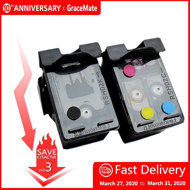 GraceMate 123 123XL Refillable Ink Cartridges For Deskjet 2130 1112 3630 3632 3635 Officejet 3830 4650 4655 ENVY 4516 4520