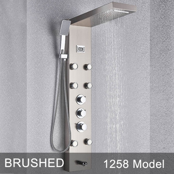 Brushed Thermostatic Shower Panel Column Stainless Steel Panel Tower Rain Waterfall Shower head With Jets Spa BathTub Spout 7