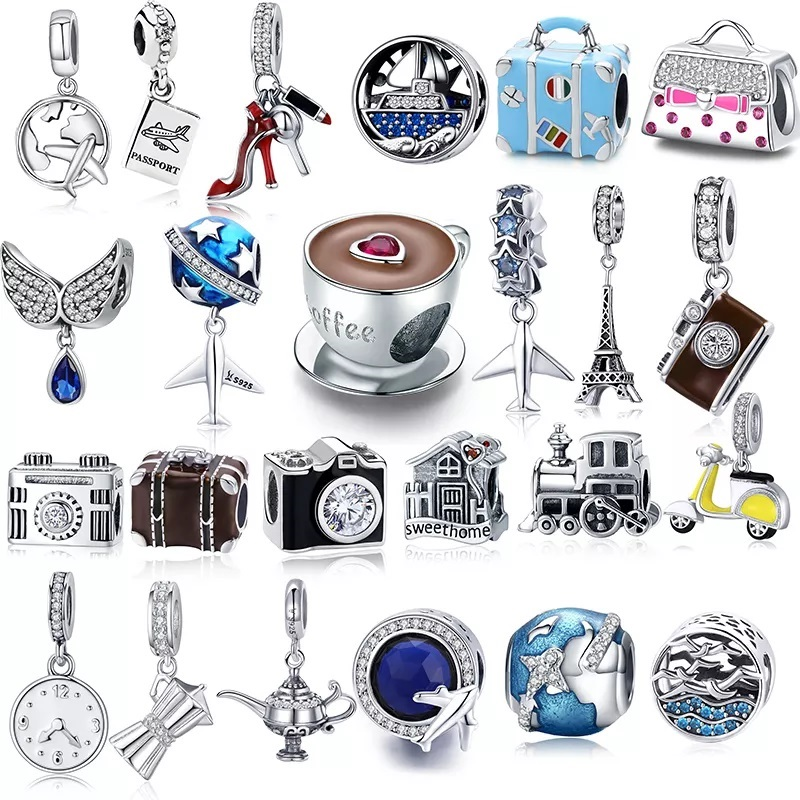 925 Sterling Silver Berloque Family House Eiffel Tower Camera Travel Dream Coffee Cup Shoes Charm Fit Charm Bracelet DIY Jewelry silver silver 925 jewelry diyoriginal 925 silver - AliExpress
