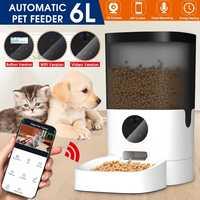 Alimentador automático inteligente de 6L para mascotas, cubierta Visible, dispensador de alimentos para perros y gatos, temporizador de Control remoto de aplicación [Vídeo/WiFi/botón]