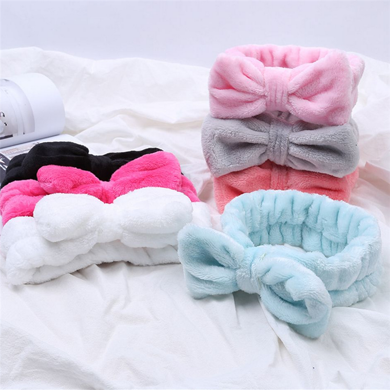 Flannel Cosmetic Headbands Soft Bowknot Elastic Hair Band Hairlace for Washing Face Shower Spa Makeup Tools