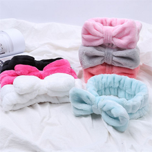 Flannel Cosmetic Headbands Soft Bowknot Elastic Hair Band Hairlace for Washing Face Shower Spa Makeup Tools(China)