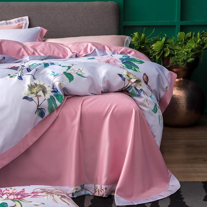 Summer 60 S Digital Printing Washing Silk Four-piece Set Tencel Bare Sleeping Top Grade Bedding Article