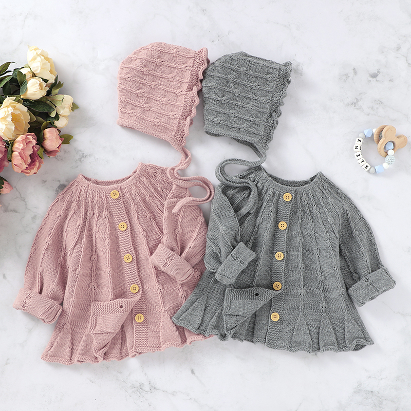 New 2020 Spring Autumn Baby Boys Girls Pure Color Knit Jacket + Hat Infant Kids Boy Girl Long Sleeve Cardigan Coat Clothing
