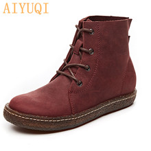 AIYUQI 2019 New Autumn Women Motorcycle Boots Genuine Leather Fashion Lady Ankle Shoes Biker Short Female