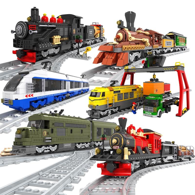 Building Blocks Creative Technic Vehicle Train Mode Educational Bricks Trem Toys For Children Present Tren Boy Gifts
