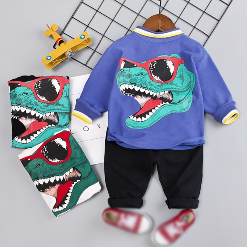 Toddler Hot Sale Baby Boy Cute Autumn Outfits Long Sleeve Letters Dinosaur Print Top Trousers Casual Sets in Clothing Sets from Mother Kids