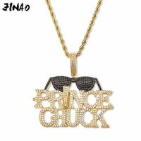JINAO New Ice Out AAA zircon PRNCE CHCK Sunglasses Pendant With Tennis Chain Cubic Stone Zircon Men's Hip Hop Jewelry Gift