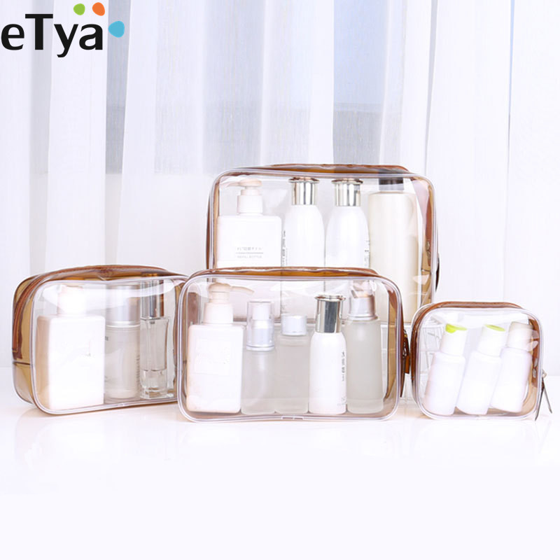 ETya 1PCS Women PVC Clear Cosmetic Bag Transparent Make Up Bag Professional Travel Small Large Make Up Organizer Bag Pouch Case