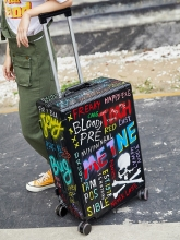 Trunk Doodle Travel Luggage Aluminum Frame Universal Wheel 24 Inch Password Pull Rod  Maleta Koffer  Unisex Student