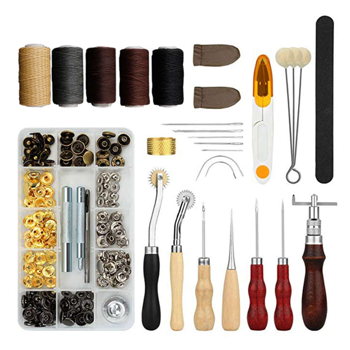 Leather Craft Tools Kit Hand Sewing Stitching Punch Carving Work Single Cap Rivets Press Stud Button Leathercraft Accessories