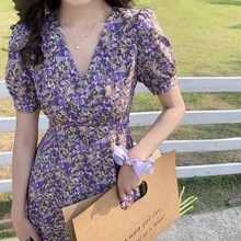 French Romance Retro Dresses Women Casual Floral Print  Dresses Boho Beach Mini Dresses Lady