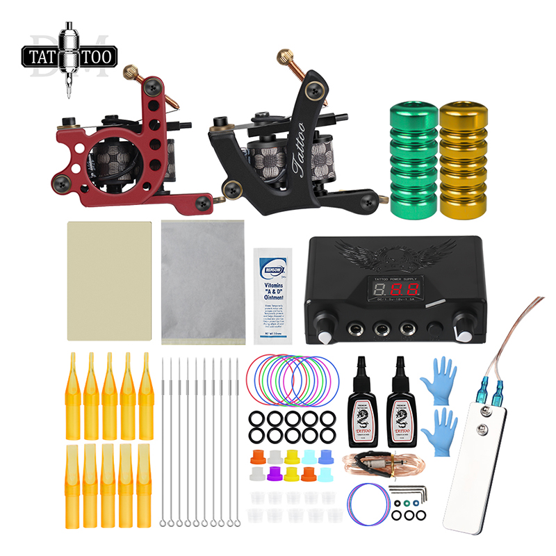Complete Tattoo Kit Coil Tattoo Machine Set Tattoo Power Supply Needles Professional Tattoo Machine Kit  For Beginner Starter