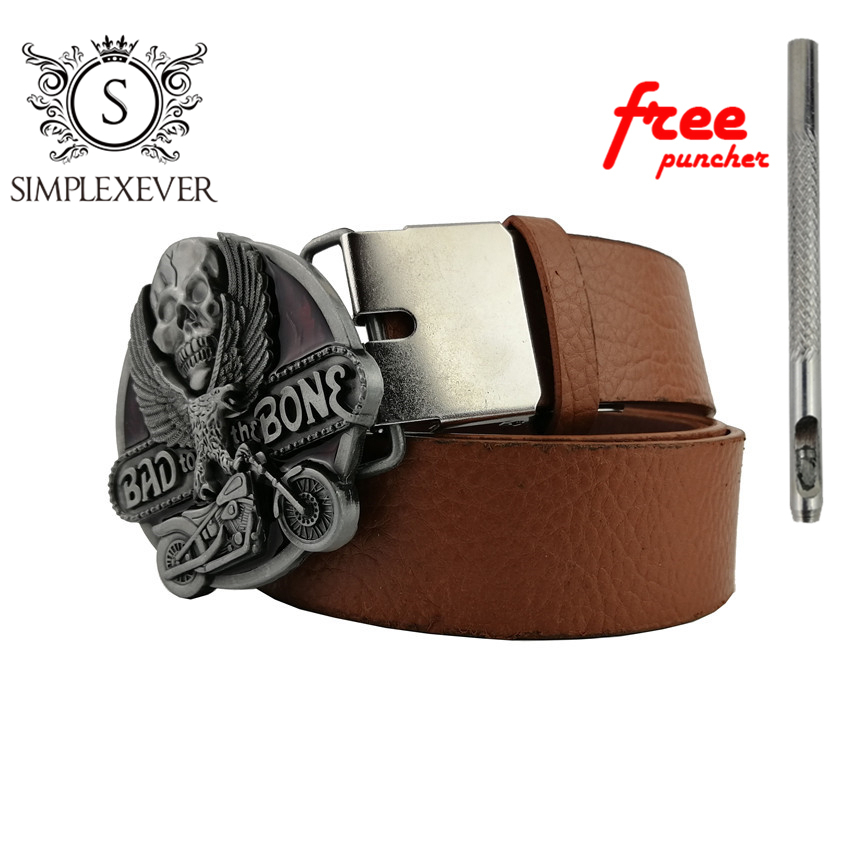 Men's Vintage Hip Hop Western Cowboy Motorcycle Head Winged Fashion Zinc Alloy Belt Buckle With Belt As Gifts