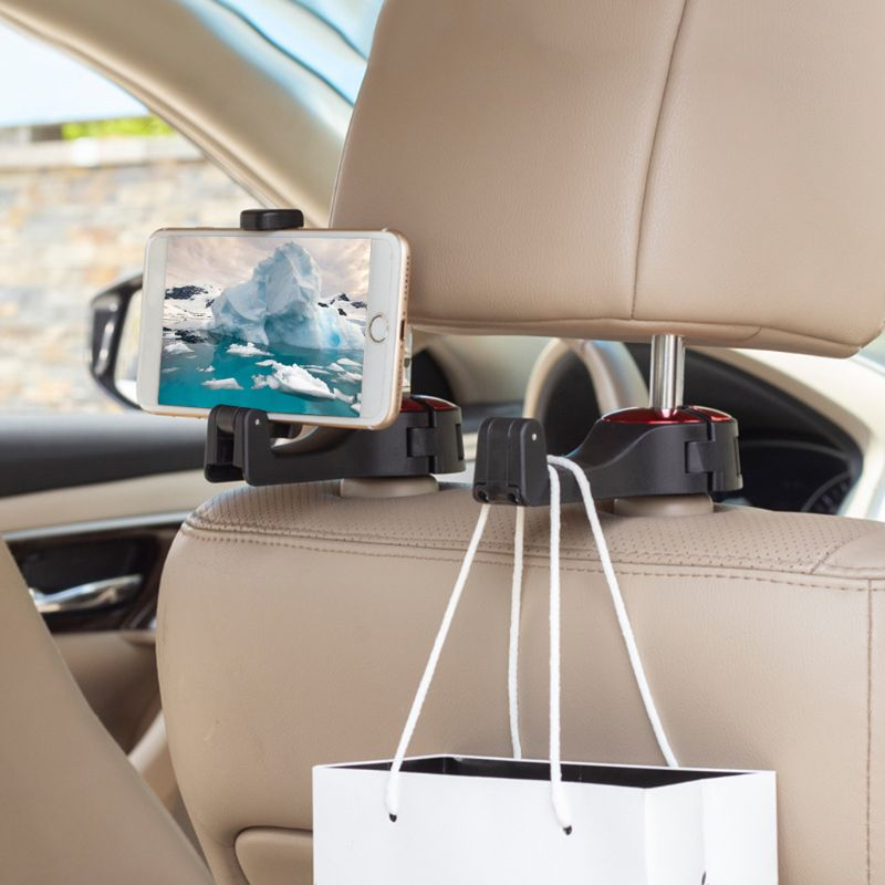 Multi-Function Car Back Seat Hanging Hook Storage Mobile Rear Phone Bracket Holder Stand