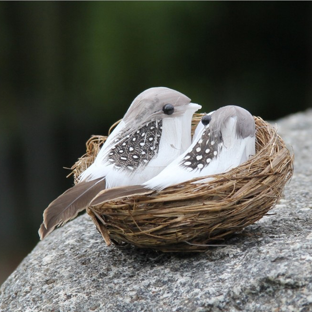 Artificial Birds & Nest & Egg Creative Garden Sculpture Lawn Arts Ornaments