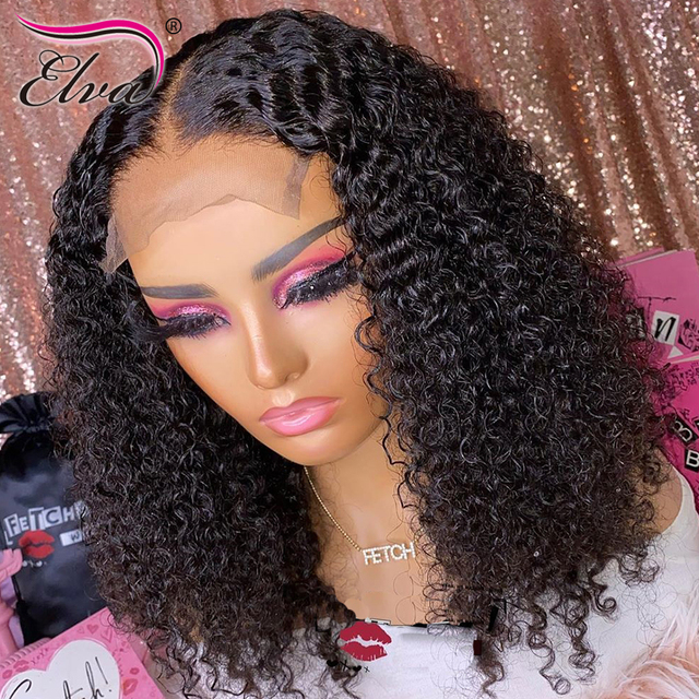Pre Plucked Lace Front Human Hair Wigs Baby Hair Curly Brazilian Lace Front Wig Bleached Knots 360 Lace Frontal Human Hair Wigs