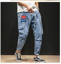 Новый весенний и осенний сезон мужской брюки брюки мульти-карман комбинезоны свободного покроя ретро носить джинсы,окончательный очистить